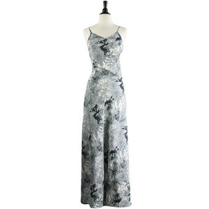 Fitted Gray Print Maxi Dress | RAGA